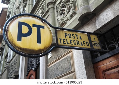 Tortona,Italy- september 18,2016: old Italian Posta e Telegrafo (mail and telegraph) metal sign indicating a post office