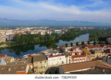 Tortosa, Catalonia, Spain skyline view over River Ebro on sunny day