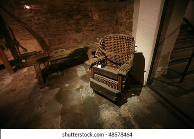 A torture chair in the dungeon of the Rothenburg Medieval Crime Museum in Rothenburg, Germany. (Mittelalterliches Kriminalmuseum)