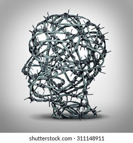Tortured thinking and depression concept as a group of tangled barbwire or barbed wire fence shaped as a human head as a metaphor for psychological or psychiatric suffering or oppression.