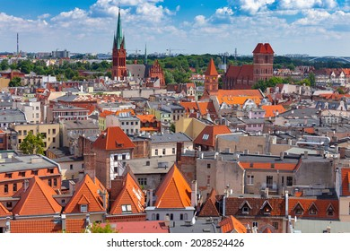 Torun. Aerial view of the old city on a sunny day.