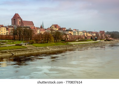 Torun,  Panorama view from opposide bank of Vistula river, one of the most beautiful cities in Poland