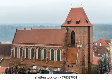 Torun, Poland, 2016; Cathedral of St. John the Baptist and St. John the Evangelist in Torun, Poland seen from tower of the Old Town Hall
