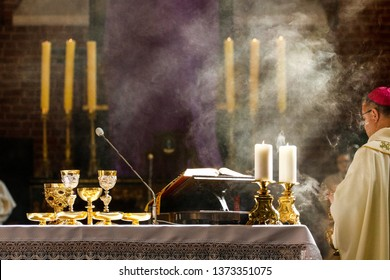 Torun Poland - April 18, 2019:  Chrism Mass in the Cathedral Church of St. John the Baptist and St. John the Evangelist