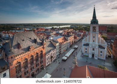 TORUN, POLAND - AUGUST 13, 2018: Landscape view of main square and medieval city from townhall clock tower