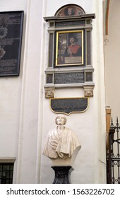 TORUN, POLAND - AUGUST 25, 2019: Bust of Nikolai Copernicus and epitaph with portrait. Cathedral of Saints John the Baptist and John the Evangelist