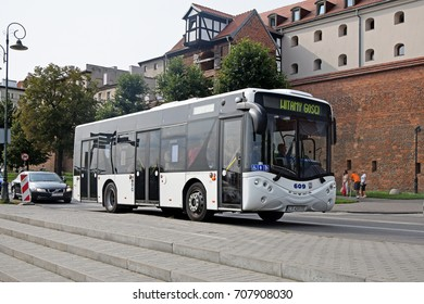 Torun, Poland - August, 26, 2017: Low-floor city bus Ursus CS 10LF City Smile in motion on the street.