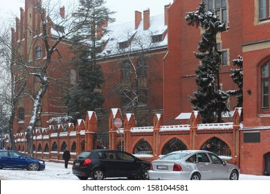 TORUN, POLAND - JANUARY 08, 2016: View of the Nicolaus Copernicus University (Collegium Maius). Was built in 1907 in the neo-Gothic style on the site of parts of the northern old town walls.