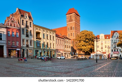 TORUN, POLAND - JUNE 2, 2019: Traitional architecture of Torun old town on New Town Market, panoramic image