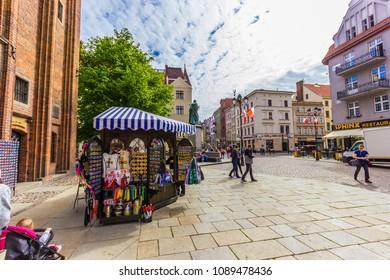 TORUN, POLAND - MAY 2, 2018: Main square of the old town of Torun, Poland