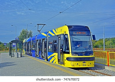 TORUN, POLAND - OCTOBER 1 - The new bi-directional Swing duo tram, produced by Polish company of Pesa, serving the newly built section of MZK Torun tramway network, on October 1, 2016 in Torun, Poland