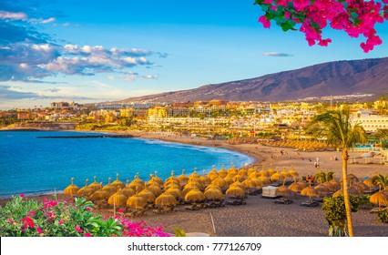 Torviscas beach on Adeje coast of Tenerife, Canary island, Spain