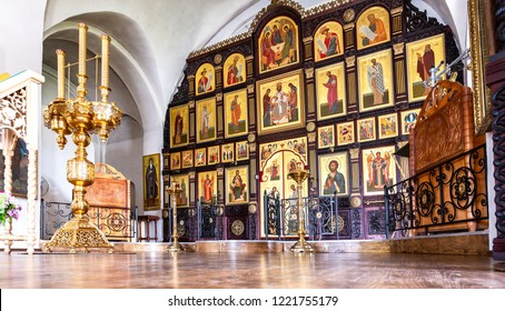 Torzhok, Russia - July 8, 2018:Orthodox iconostasis inside the Church of the Presentation of the Blessed Virgin in the Temple at the Borisoglebsky Monastery. Church was founded in 1620