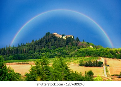 Toscana, Italy. Fields and castle