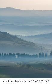 toscany italy morning misty landscape