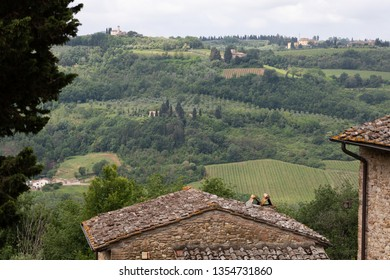 Toscany landscape with trees and meadow