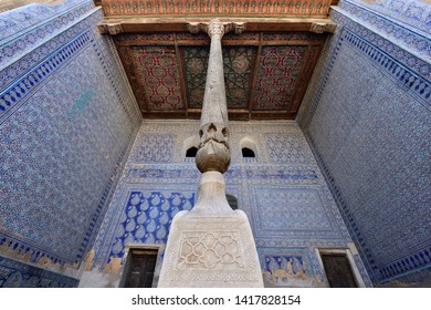 TOSH-HOVLI, KHIVA, UZBEKISTAN - 02 MAY 2019: Most sumptuous interior decoration of the Tosh-Hovli palace in Khiva in the Silk Road