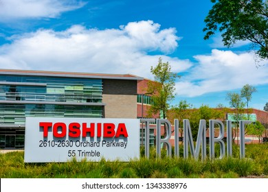 Toshiba sign in front of company campus in Silicon Valley - San Jose, California, USA - March 17, 2019