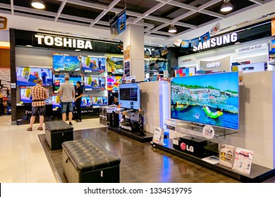 The Toshiba televisions for sell to the customer in Village Market shopping mall Hua Hin, Thailand November 14, 2018