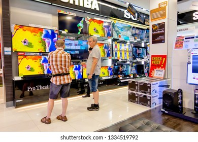 The Toshiba televisions for sell to the customers in Village Market shopping mall Hua Hin, Thailand November 14, 2018