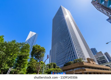 """TOSHIMA, TOKYO / JAPAN - MAY 20 2018 : Scenery of """"Sunshine 60"""" in Ikebukuro. A 60-story skyscraper is a symbol of Ikebukuro. It is built on the site of Sunshine City, a compound commercial facility."""