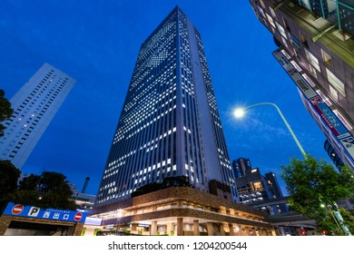 """TOSHIMA, TOKYO / JAPAN - OCTOBER 2 2018 : Night view of the high-rise building of """"Sunshine 60"""" in Ikebukuro."""