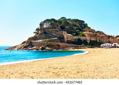 Tossa de Mar Castle, view from the beach. Costa Brava, Spain