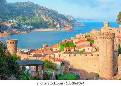 Tossa de Mar, Costa Brava, Spain. View of the sea and old town.