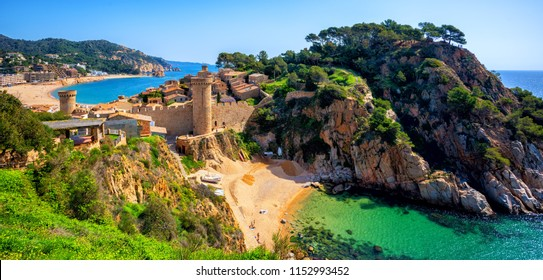 Tossa de Mar, the historical Old Town walls and sand beach on Costa Brava mediterranean coast, Catalonia, Spain