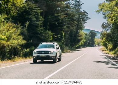 Tossa de Mar, Spain - May 17, 2018: Car Dacia Duster SUV In Summer Spanish Road. Duster produced jointly by the French manufacturer Renault and its Romanian subsidiary Dacia since 2010