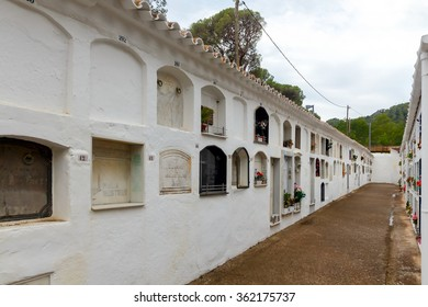 Tossa de Mar, Spain - September 10, 2015: Wall columbarium in Tossa de Mar. Spain.
