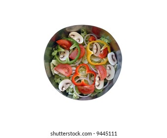Tossed green salad in stainless steel bowl.
