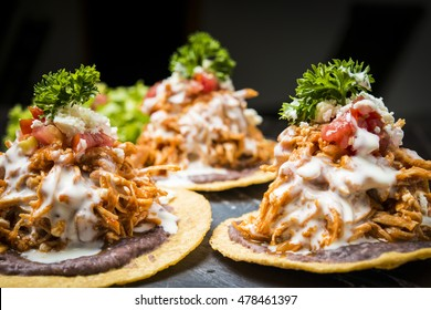 Tostadas Mexican style with chicken