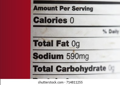 Total fat is zero concept- label of a food product.