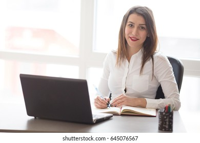 Total job satisfaction! - Stock image Businesswoman, Women, One Woman Only, Smiling, Computer