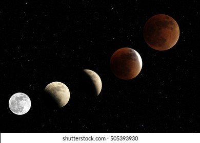 Total lunar eclipse 2015, also known as blood moon, photographed sep 27th, 8-11 pm, in the mountains of Colombia at 3'560 mabsl, national park Cocuy.