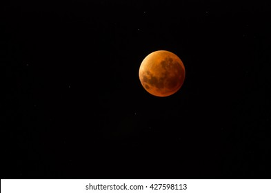 Total lunar eclipse blood moon with clear dark starry background September 2015 from Cape Town