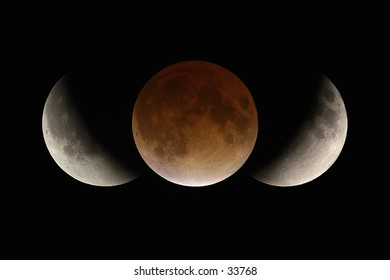 Total lunar eclipse composite illustrating the size of the earth's shadow in relation to the moon.