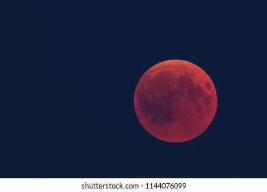 Total lunar eclipse on July 27, 2018, photographed from the palatinate forest in Germany.