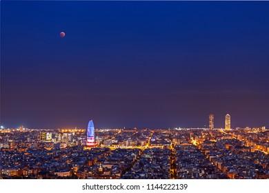 Total Lunar Eclipse over Barcelona on July 27,2018