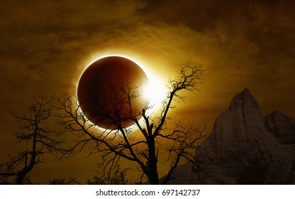 Total solar eclipse, mysterious natural phenomenon when Moon passes between planet Earth and Sun, silhouette of withered tree and mountains