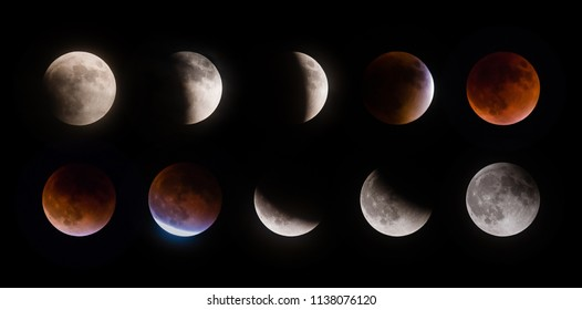 Total supermoon lunar eclipse, also known as a blood moon, phases observed on September 27 2015 in the Texas sky
