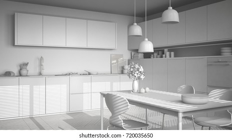 Total white project of modern kitchen with table and chairs, herringbone parquet floor, white minimalist interior design, 3d illustration