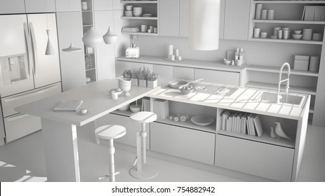 Total white project of modern wooden kitchen with wooden details, white minimalistic interior design, 3d illustration