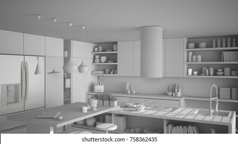 Total white project of modern wooden kitchen with wooden details, close up, island and gas stove with cooking pan, white minimalistic interior design, 3d illustration