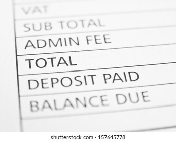 TOTAL written on a form or contract close up.
