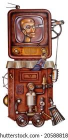 A totalitarian television. Steampunk Illustration