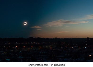 The totality phase of July 2, 2019 total solar eclipse as seen from the city of Firmat, in the Southeast of Santa Fe, Argentina.