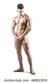 Totally naked male bodybuilder hiding genitals with hands, looking down, isolated on white background. Full body shot