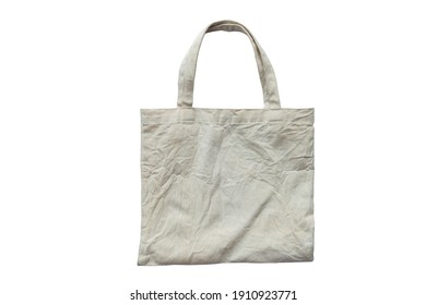 Tote bag canvas fabric cloth shopping sack mockup blank template isolated on white background